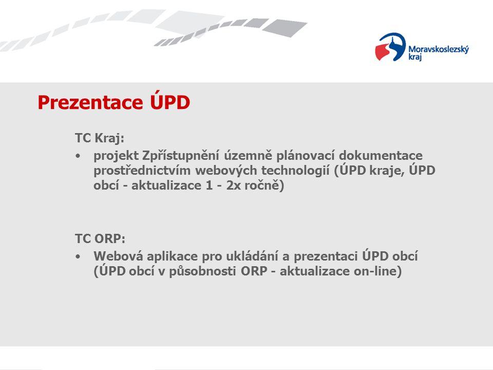 Prezentace ÚPD TC Kraj: projekt Zpřístupnění územně plánovací dokumentace prostřednictvím webových technologií (ÚPD kraje, ÚPD obcí - aktualizace 1 - 2x ročně) TC ORP: Webová aplikace pro ukládání a prezentaci ÚPD obcí (ÚPD obcí v působnosti ORP - aktualizace on-line)