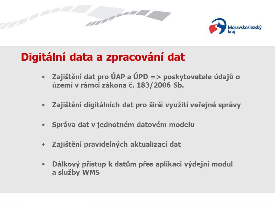 Digitální data a zpracování dat Zajištění dat pro ÚAP a ÚPD => poskytovatele údajů o území v rámci zákona č.