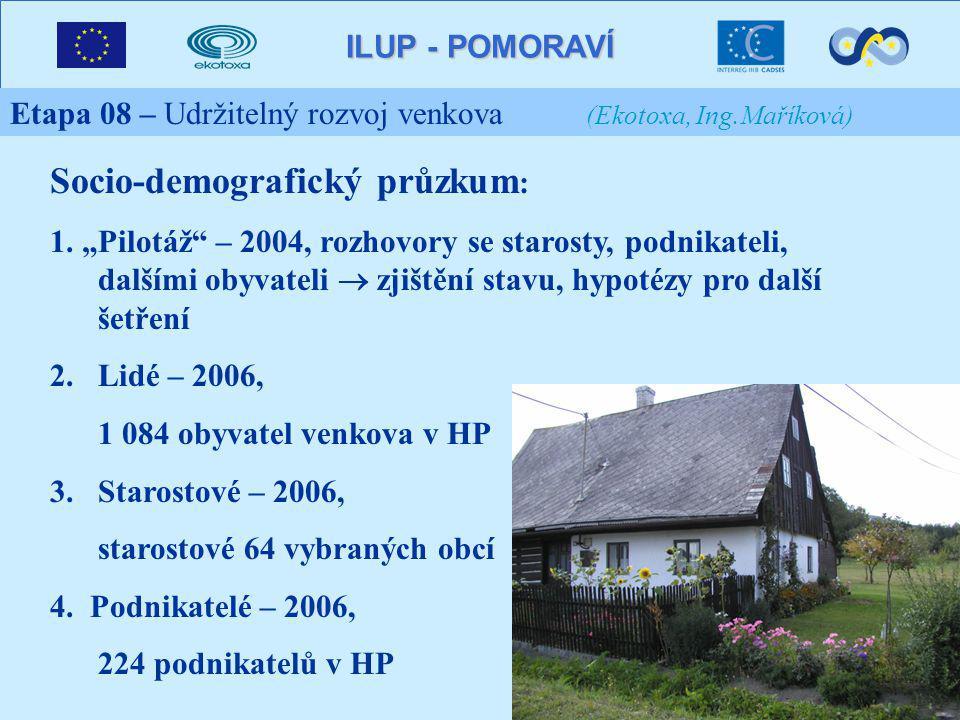 ILUP - POMORAVÍ Etapa 08 – Udržitelný rozvoj venkova (Ekotoxa, Ing.Maříková) Socio-demografický průzkum : 1.