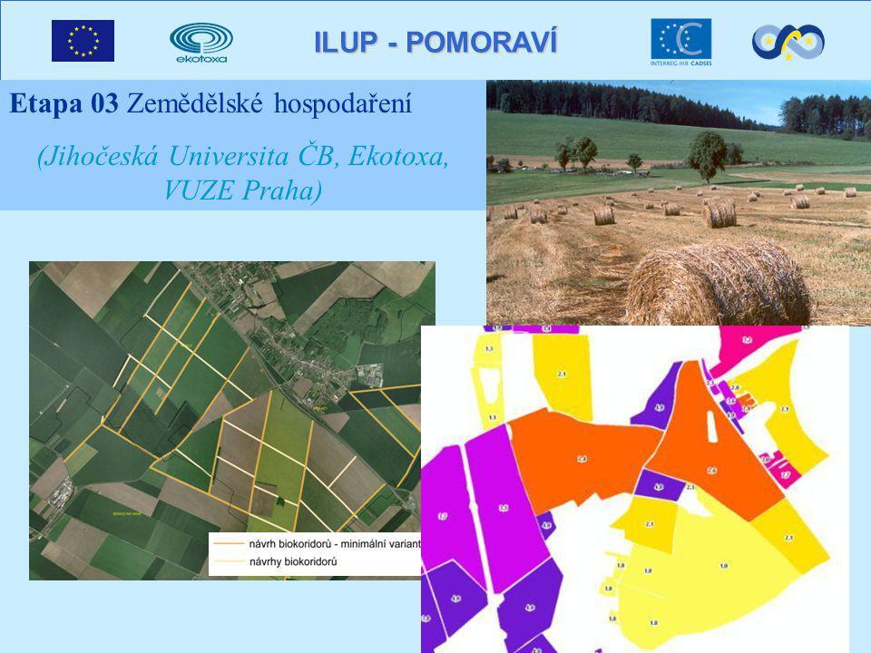 ILUP - POMORAVÍ Etapa 03 Zemědělské hospodaření (Jihočeská Universita ČB, Ekotoxa, VUZE Praha)
