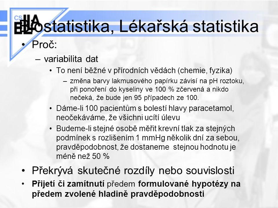 Biostatistika, Lékařská statistika Proč: –variabilita dat To není běžné v přírodních vědách (chemie, fyzika) –změna barvy lakmusového papírku závisí n