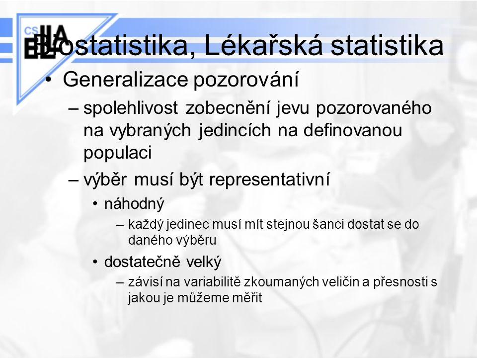 Biostatistika, Lékařská statistika Generalizace pozorování –spolehlivost zobecnění jevu pozorovaného na vybraných jedincích na definovanou populaci –v