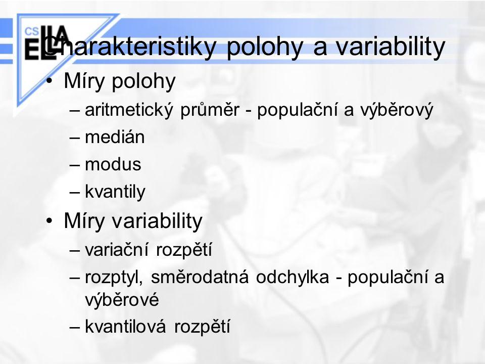 Charakteristiky polohy a variability Míry polohy –aritmetický průměr - populační a výběrový –medián –modus –kvantily Míry variability –variační rozpět