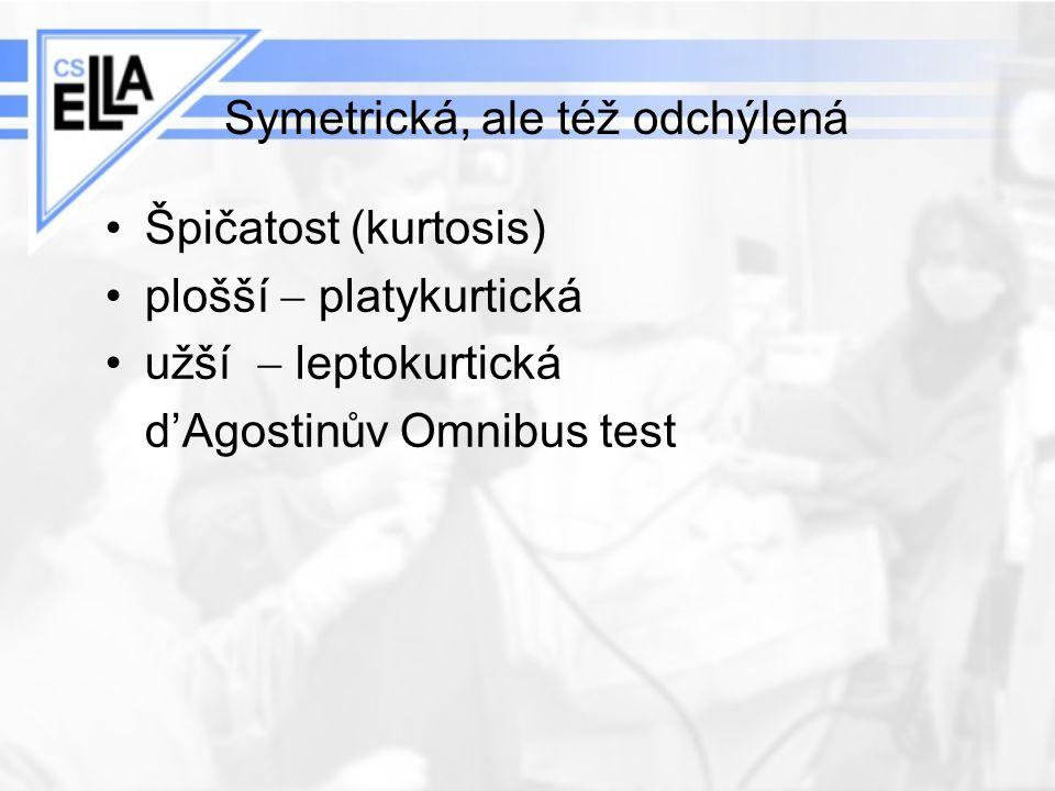 Symetrická, ale též odchýlená Špičatost (kurtosis) plošší  platykurtická užší  leptokurtická d'Agostinův Omnibus test