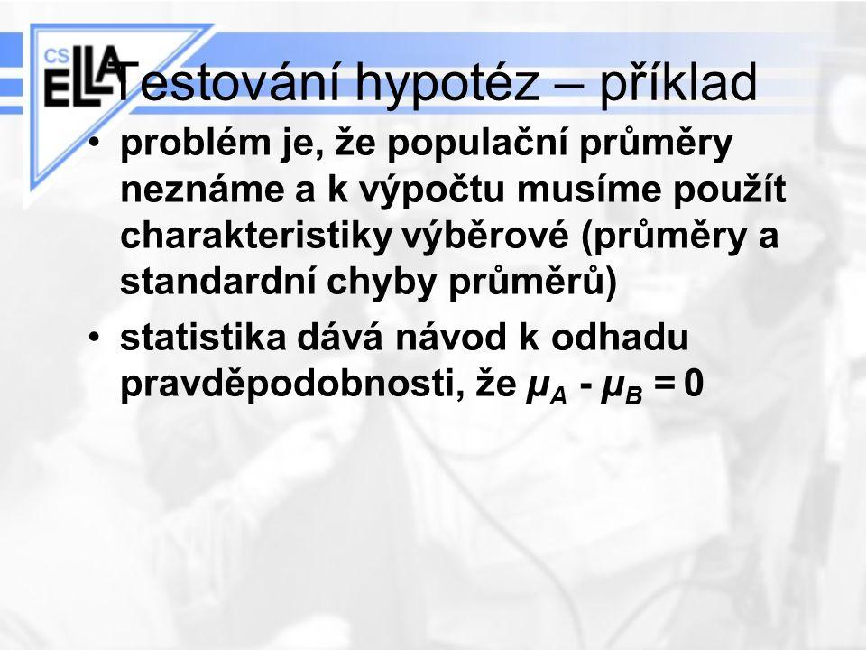 Testování hypotéz – příklad problém je, že populační průměry neznáme a k výpočtu musíme použít charakteristiky výběrové (průměry a standardní chyby pr