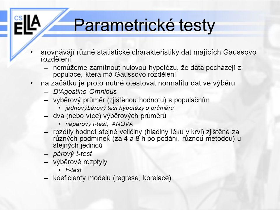 Parametrické testy srovnávájí různé statistické charakteristiky dat majících Gaussovo rozdělení –nemůžeme zamítnout nulovou hypotézu, že data pocházej