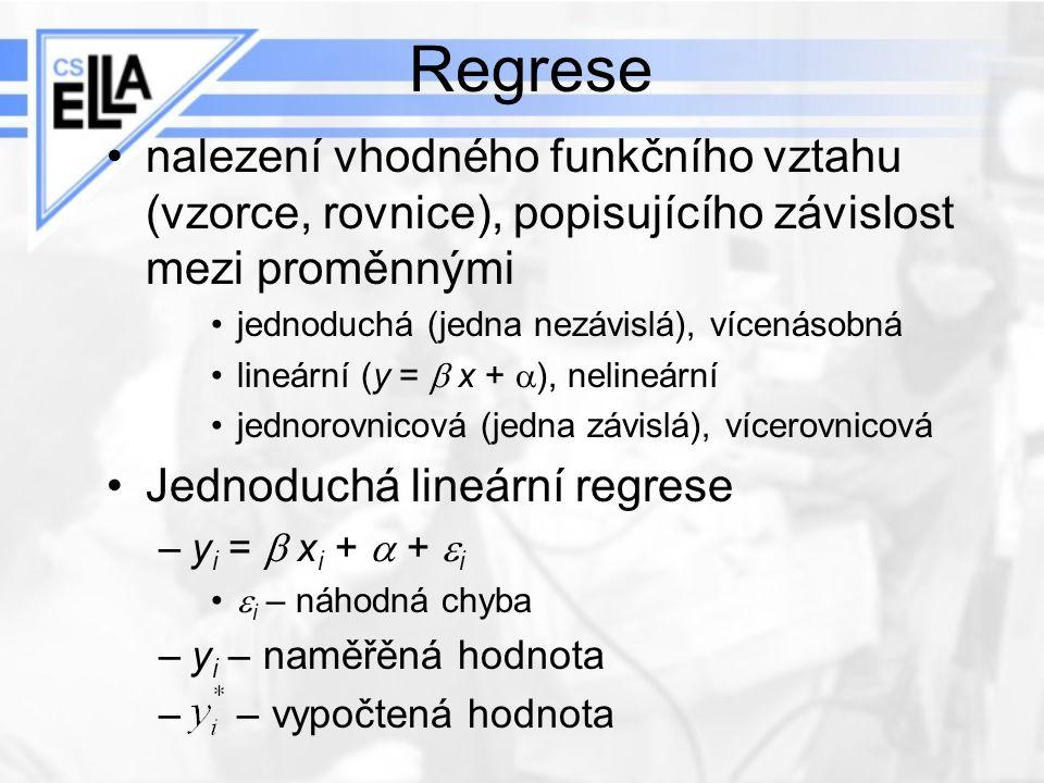 Regrese nalezení vhodného funkčního vztahu (vzorce, rovnice), popisujícího závislost mezi proměnnými jednoduchá (jedna nezávislá), vícenásobná lineárn