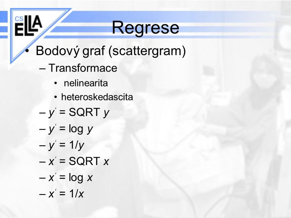 Regrese Bodový graf (scattergram) –Transformace nelinearita heteroskedascita –y ' = SQRT y –y ' = log y –y ' = 1/y –x ' = SQRT x –x ' = log x –x ' = 1