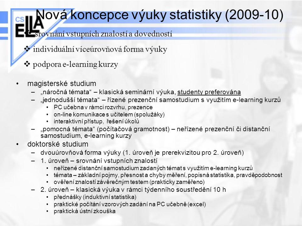 """Nová koncepce výuky statistiky (2009-10) magisterské studium –""""náročná témata"""" – klasická seminární výuka, studenty preferována –""""jednodušší témata"""" –"""