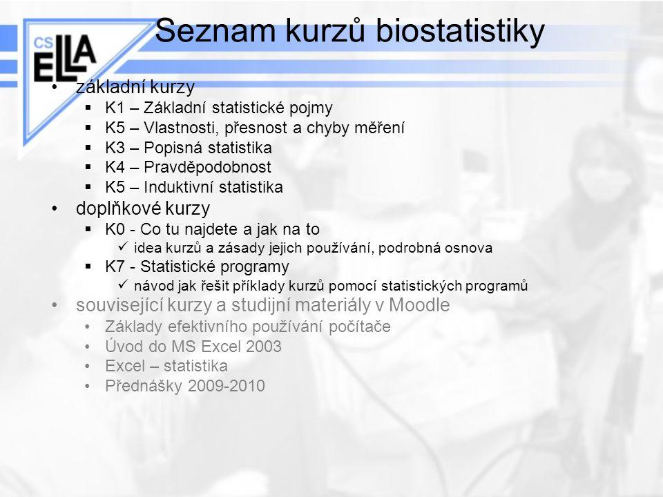 Seznam kurzů biostatistiky základní kurzy  K1 – Základní statistické pojmy  K5 – Vlastnosti, přesnost a chyby měření  K3 – Popisná statistika  K4