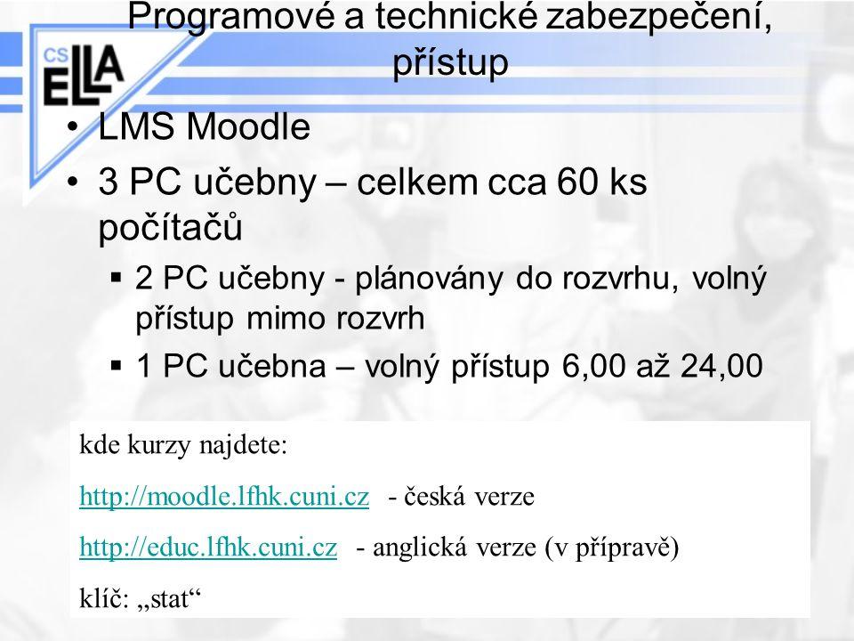 Programové a technické zabezpečení, přístup LMS Moodle 3 PC učebny – celkem cca 60 ks počítačů  2 PC učebny - plánovány do rozvrhu, volný přístup mim