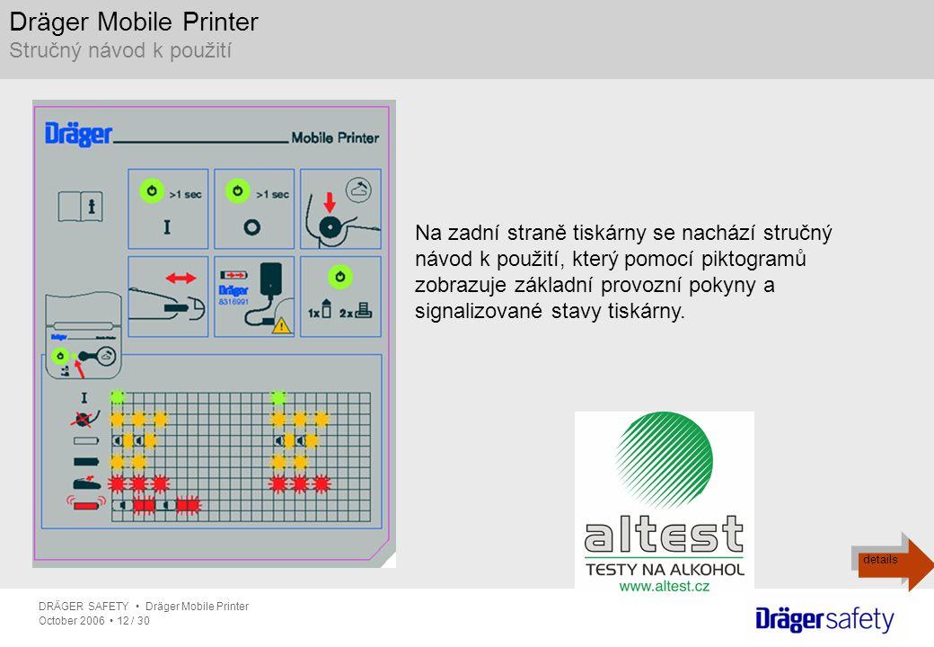 DRÄGER SAFETY Dräger Mobile Printer October 2006 12 / 30 Dräger Mobile Printer Stručný návod k použití Na zadní straně tiskárny se nachází stručný náv