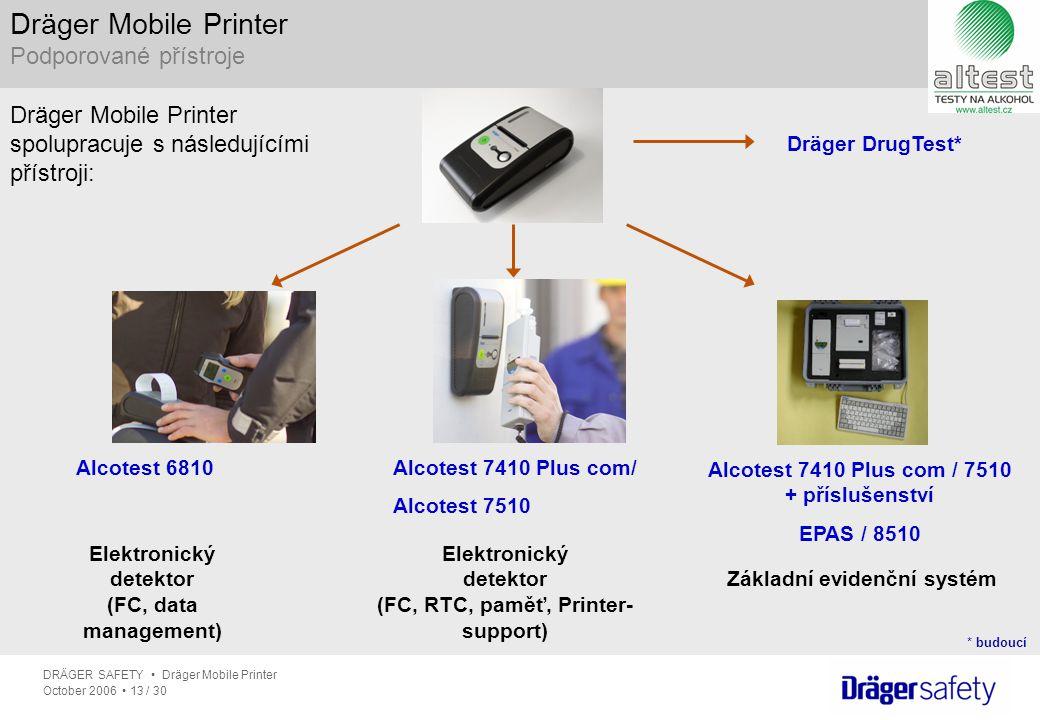 DRÄGER SAFETY Dräger Mobile Printer October 2006 13 / 30 Elektronický detektor (FC, RTC, paměť, Printer- support) Elektronický detektor (FC, data mana