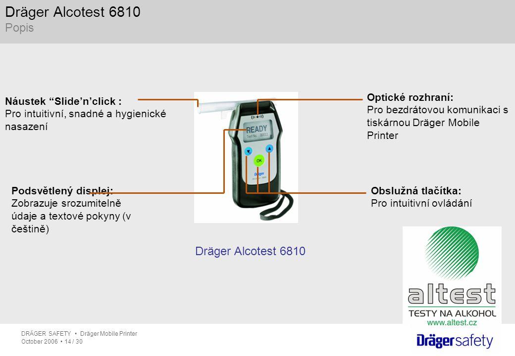 """DRÄGER SAFETY Dräger Mobile Printer October 2006 14 / 30 Dräger Alcotest 6810 Popis Dräger Alcotest 6810 Náustek """"Slide'n'click : Pro intuitivní, snad"""