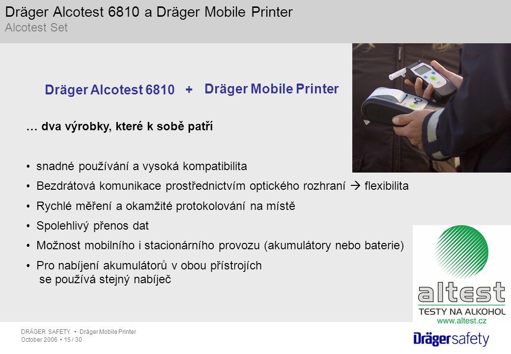 DRÄGER SAFETY Dräger Mobile Printer October 2006 15 / 30 Dräger Alcotest 6810 a Dräger Mobile Printer Alcotest Set … dva výrobky, které k sobě patří s