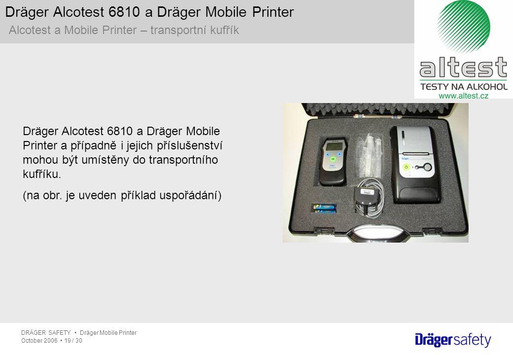 DRÄGER SAFETY Dräger Mobile Printer October 2006 19 / 30 Dräger Alcotest 6810 a Dräger Mobile Printer Alcotest a Mobile Printer – transportní kufřík D