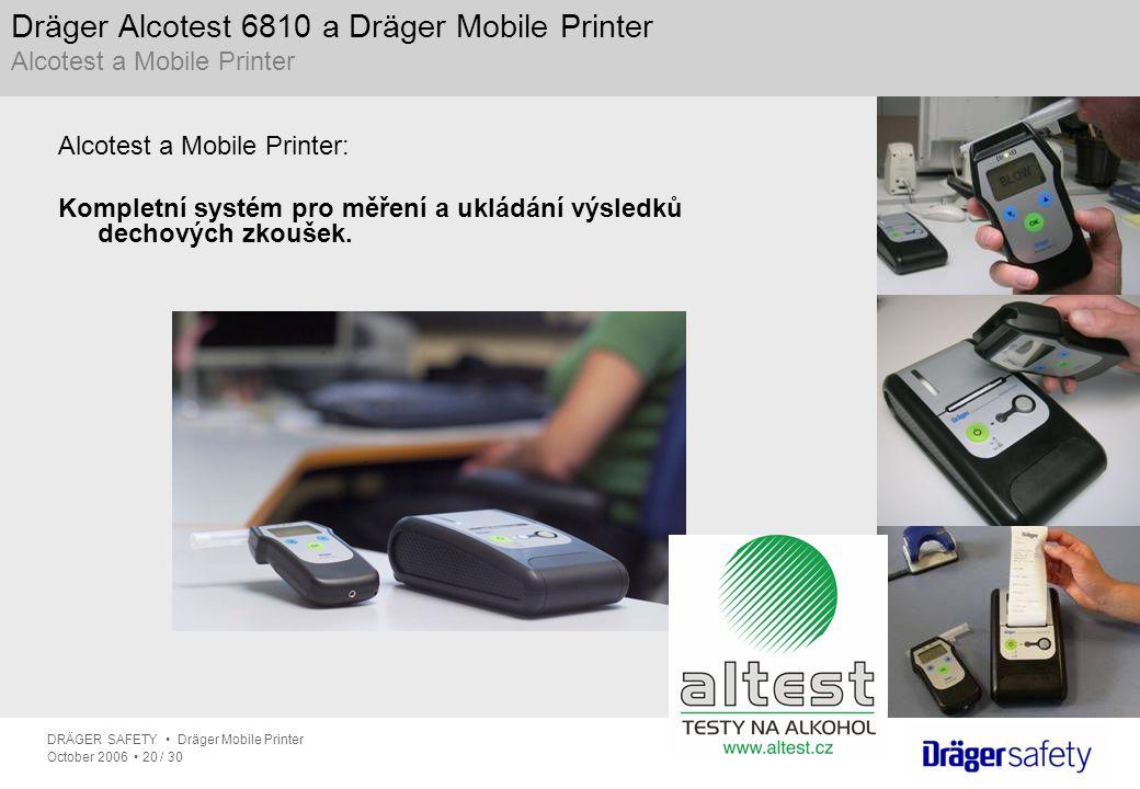 DRÄGER SAFETY Dräger Mobile Printer October 2006 20 / 30 Dräger Alcotest 6810 a Dräger Mobile Printer Alcotest a Mobile Printer Alcotest a Mobile Prin