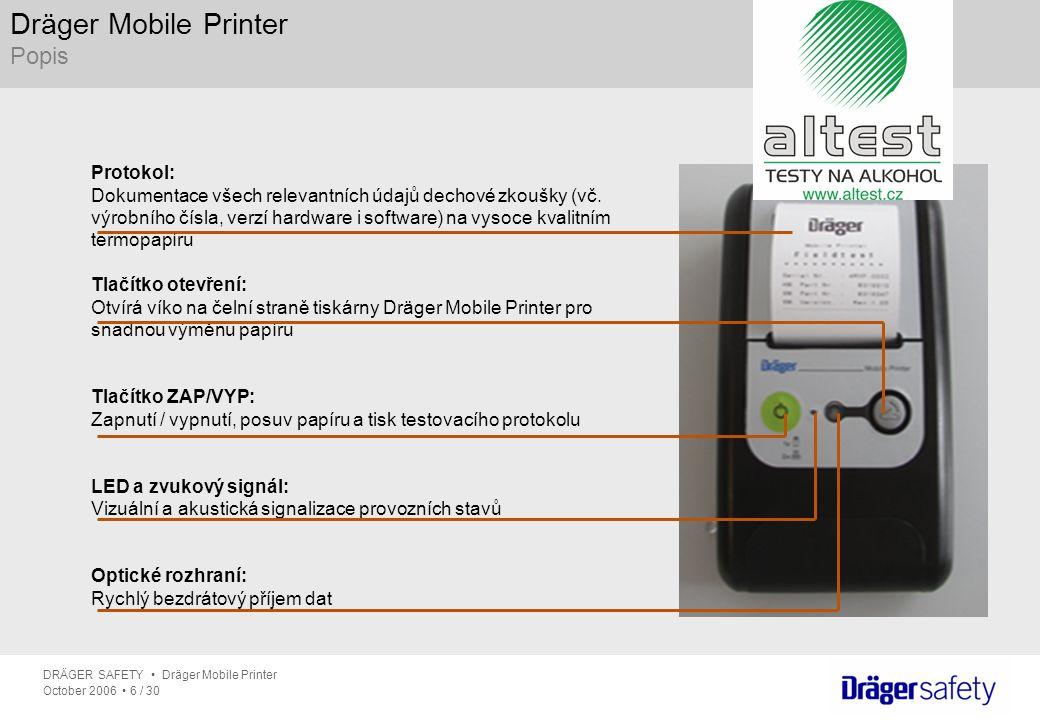 DRÄGER SAFETY Dräger Mobile Printer October 2006 6 / 30 Dräger Mobile Printer Popis Protokol: Dokumentace všech relevantních údajů dechové zkoušky (vč
