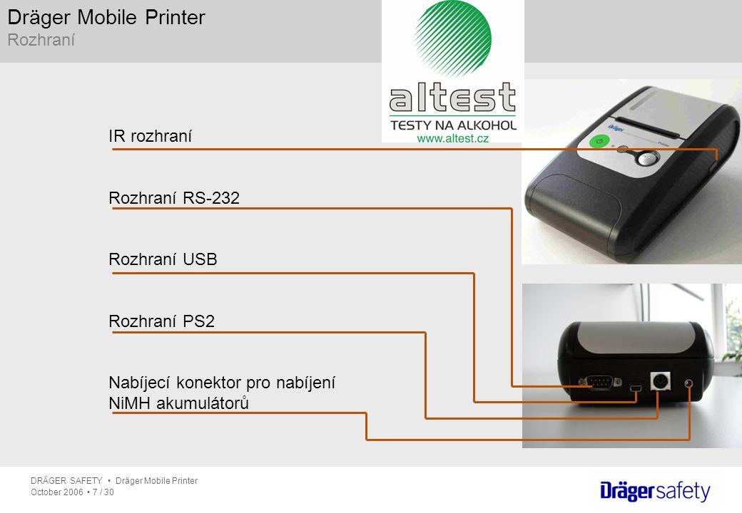 DRÄGER SAFETY Dräger Mobile Printer October 2006 7 / 30 Dräger Mobile Printer Rozhraní IR rozhraní Rozhraní RS-232 Rozhraní USB Rozhraní PS2 Nabíjecí