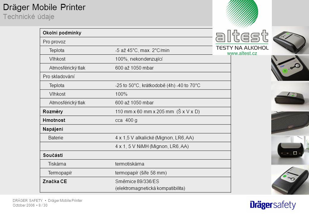 DRÄGER SAFETY Dräger Mobile Printer October 2006 8 / 30 Okolní podmínky Pro provoz Teplota-5 až 45°C, max. 2°C/min Vlhkost100%, nekondenzující Atmosfé