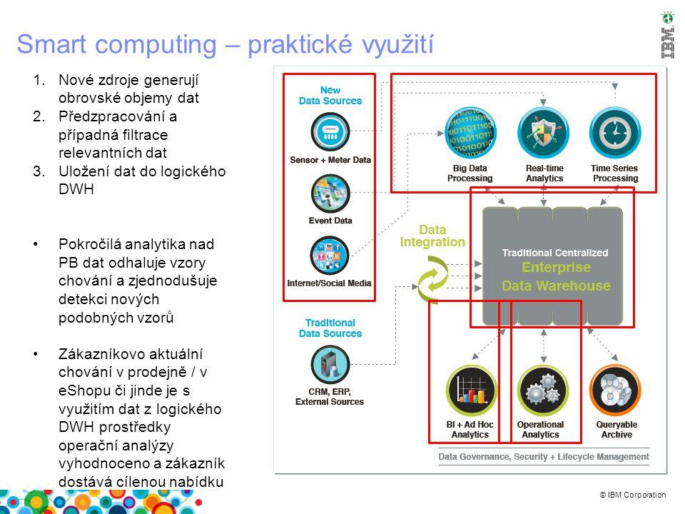 © IBM Corporation Smart computing – praktické využití 1.Nové zdroje generují obrovské objemy dat 2.Předzpracování a případná filtrace relevantních dat 3.Uložení dat do logického DWH Pokročilá analytika nad PB dat odhaluje vzory chování a zjednodušuje detekci nových podobných vzorů Zákazníkovo aktuální chování v prodejně / v eShopu či jinde je s využitím dat z logického DWH prostředky operační analýzy vyhodnoceno a zákazník dostává cílenou nabídku