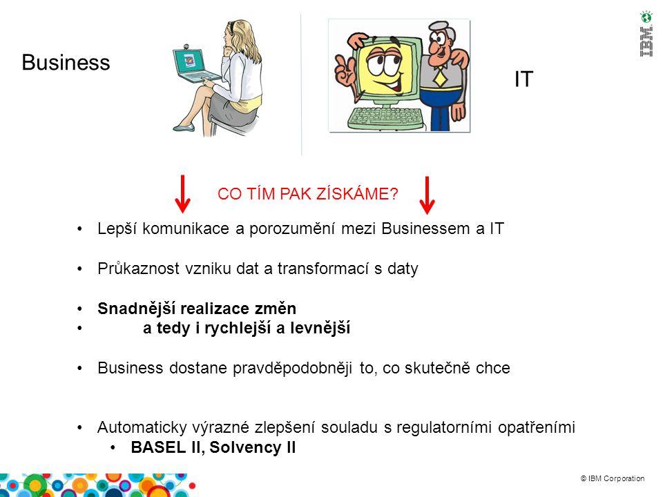 © IBM Corporation Petra z Businessu Tonda z IT Vyřešení komunikace mezi businessem a IT ale je jen prvním krokem Dnešní trendy jdou mnohem dál: Business by rád byl na IT méně závislý Business ale není vždy připraven Zejména převzít zodpovědnost IT se nechce odpovědnosti vzdát – pocit ztráty významu Řešení: Ať každý dělá to, v čem je dobrý Vytváření reportů všech typů Business logika: Plánovací a what-if aplikace Ruční vkládání dat Prediktivní modelování Datový model ETL (datové pumpy) Datová kvalita Optimalizace výkonu a správy systémů Vlastní provoz aplikací, zálohování