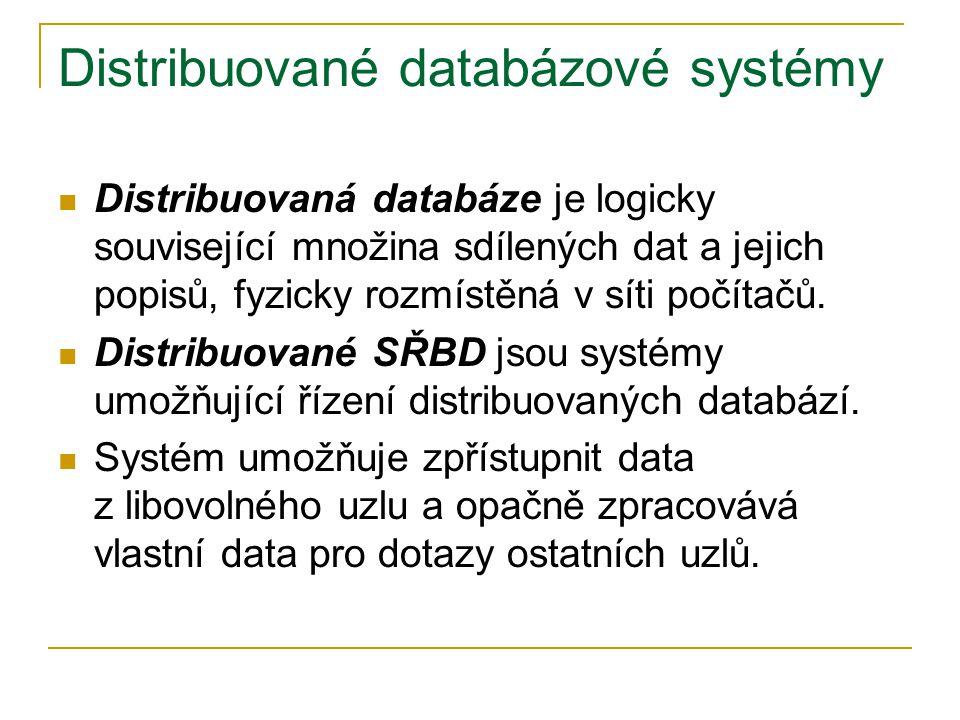 Distribuované databázové systémy Distribuovaná databáze je logicky související množina sdílených dat a jejich popisů, fyzicky rozmístěná v síti počítačů.