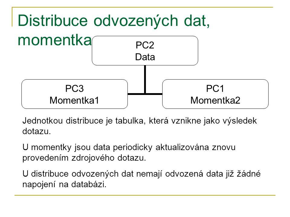 Distribuce odvozených dat, momentka PC2 Data PC3 Momentka1 PC1 Momentka2 Jednotkou distribuce je tabulka, která vznikne jako výsledek dotazu.