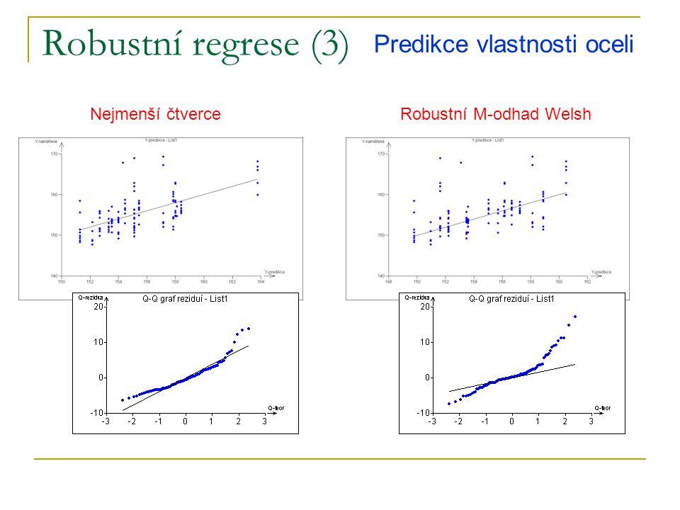 Redukce dimenze – PCR (1) ortogonalizace hlavní komponenty XQY Snížení dimenzionality úlohy – snadnější interpretace Ortogonalizace maximálně zvyšuje stabilitu řešení Přesnější predikce