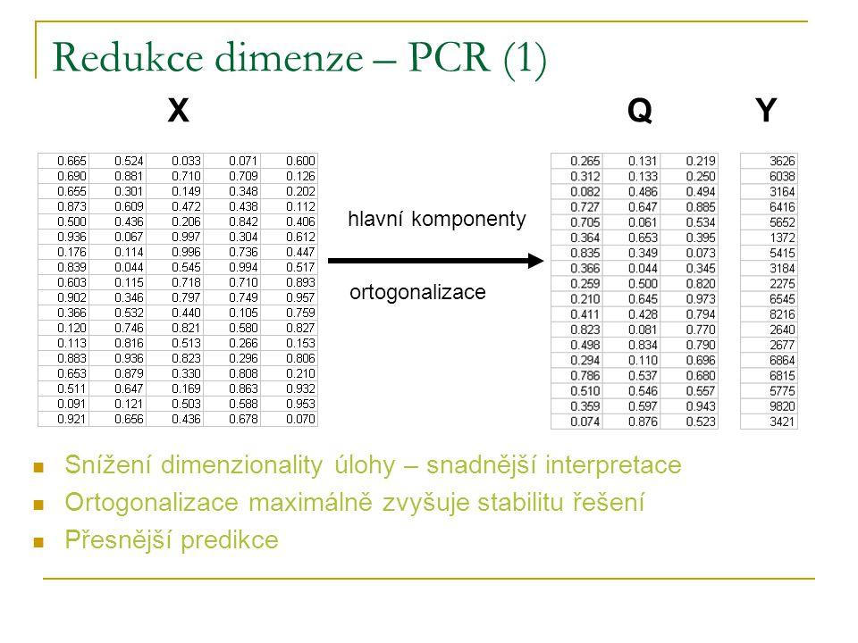 Redukce dimenze – PCR (2) Hlavní komponenty – komprese informace do minima proměnných