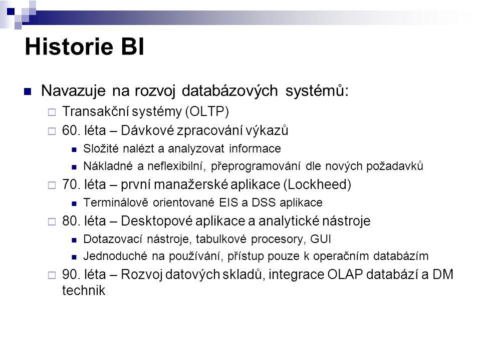 Historie BI Navazuje na rozvoj databázových systémů:  Transakční systémy (OLTP)  60. léta – Dávkové zpracování výkazů Složité nalézt a analyzovat in