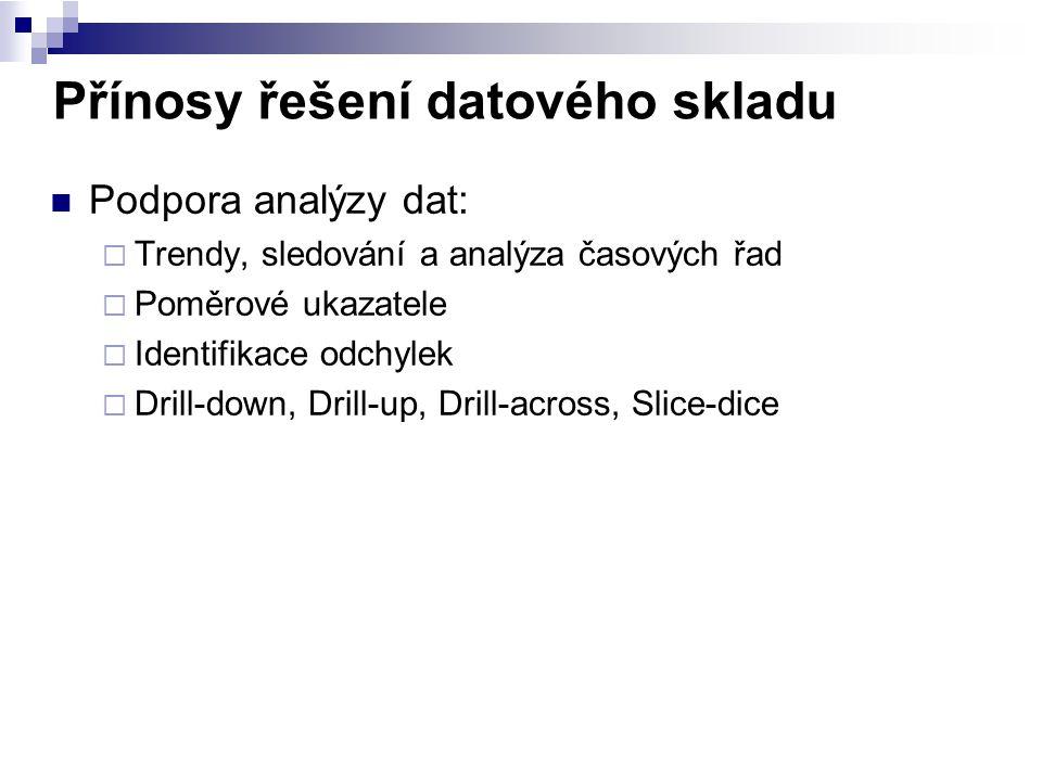 Přínosy řešení datového skladu Podpora analýzy dat:  Trendy, sledování a analýza časových řad  Poměrové ukazatele  Identifikace odchylek  Drill-do