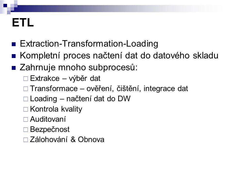 ETL Extraction-Transformation-Loading Kompletní proces načtení dat do datového skladu Zahrnuje mnoho subprocesů:  Extrakce – výběr dat  Transformace