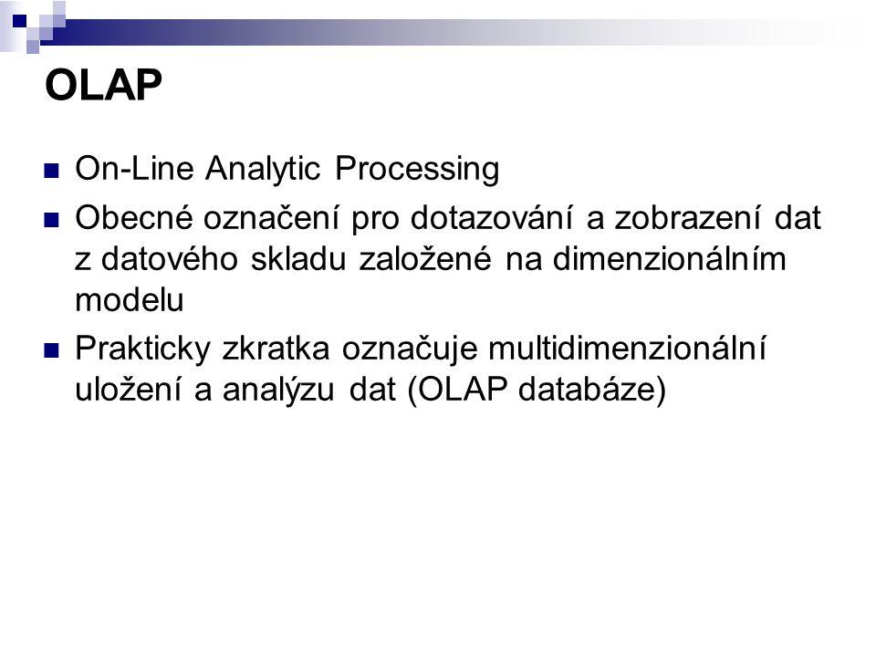 OLAP On-Line Analytic Processing Obecné označení pro dotazování a zobrazení dat z datového skladu založené na dimenzionálním modelu Prakticky zkratka