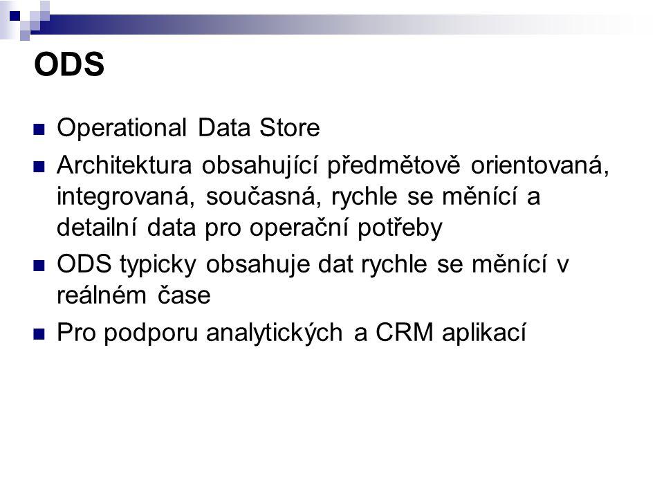 ODS Operational Data Store Architektura obsahující předmětově orientovaná, integrovaná, současná, rychle se měnící a detailní data pro operační potřeb