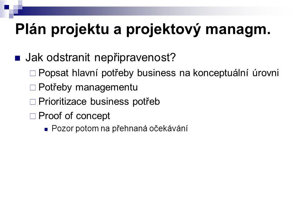 Plán projektu a projektový managm. Jak odstranit nepřipravenost?  Popsat hlavní potřeby business na konceptuální úrovni  Potřeby managementu  Prior