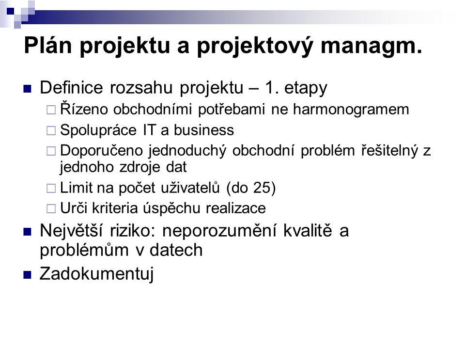 Plán projektu a projektový managm. Definice rozsahu projektu – 1. etapy  Řízeno obchodními potřebami ne harmonogramem  Spolupráce IT a business  Do