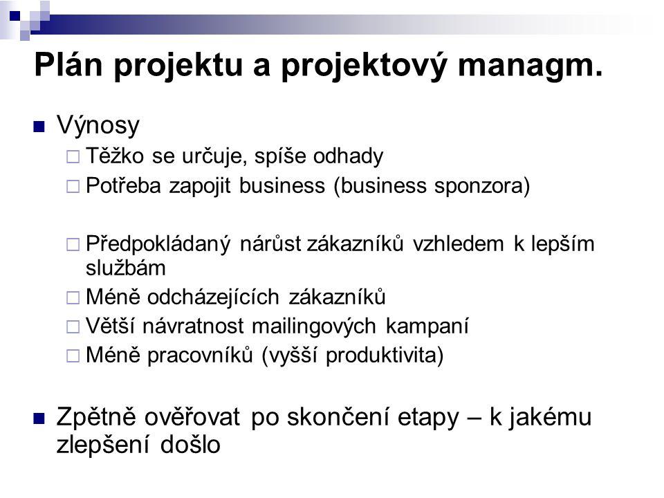 Plán projektu a projektový managm. Výnosy  Těžko se určuje, spíše odhady  Potřeba zapojit business (business sponzora)  Předpokládaný nárůst zákazn