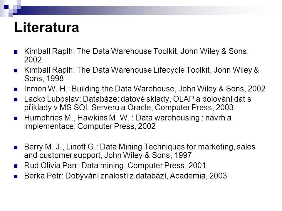 Data Mart (Datové tržiště) Logická podmnožina datového skladu Část řešení datového skladu určená pro podporu specifické analýzy (účetnictví) nebo oddělení firmy (marketing, prodej) VlastnostData WarehouseData Mart RozsahEnterpriseOddělení ObsahVíce oblastíJedna oblast ZdrojeHodněMálo Velikost (typicky)100 GB to > 1 TB< 100 GB ImplementaceMěsíce až rokyMěsíce