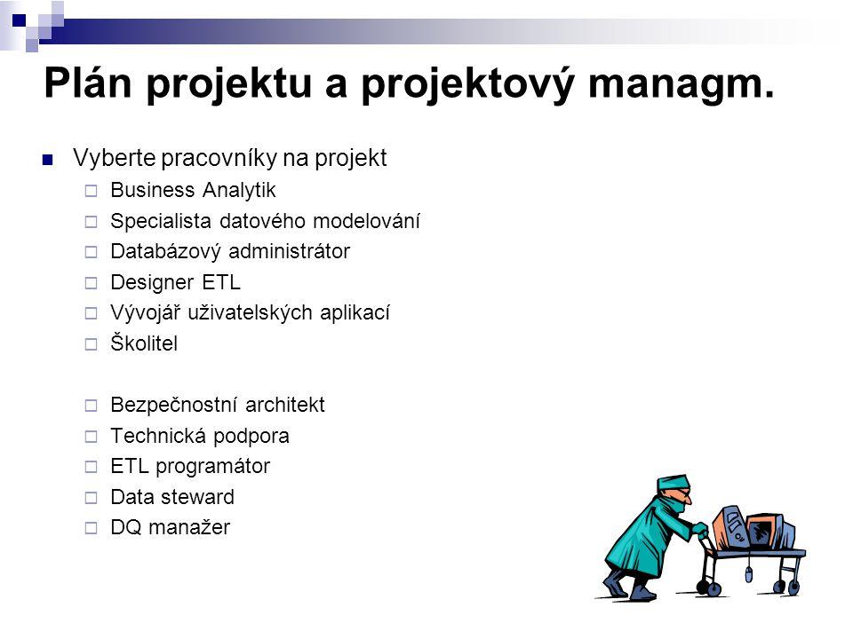 Plán projektu a projektový managm. Vyberte pracovníky na projekt  Business Analytik  Specialista datového modelování  Databázový administrátor  De