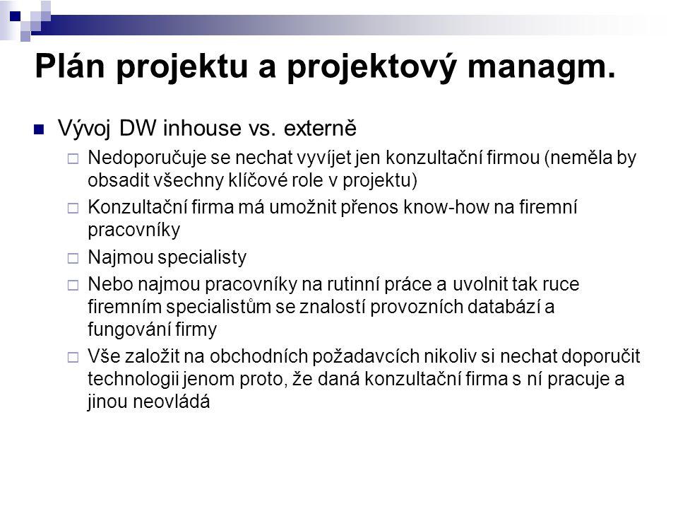 Plán projektu a projektový managm. Vývoj DW inhouse vs. externě  Nedoporučuje se nechat vyvíjet jen konzultační firmou (neměla by obsadit všechny klí