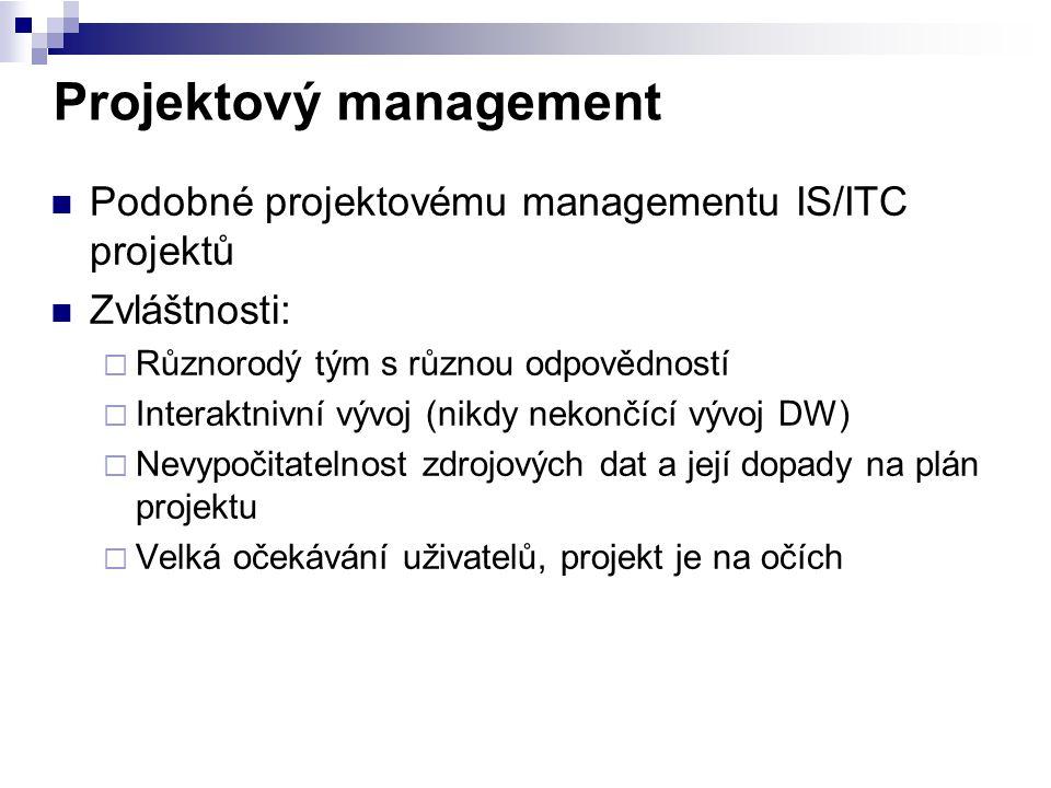 Projektový management Podobné projektovému managementu IS/ITC projektů Zvláštnosti:  Různorodý tým s různou odpovědností  Interaktnivní vývoj (nikdy
