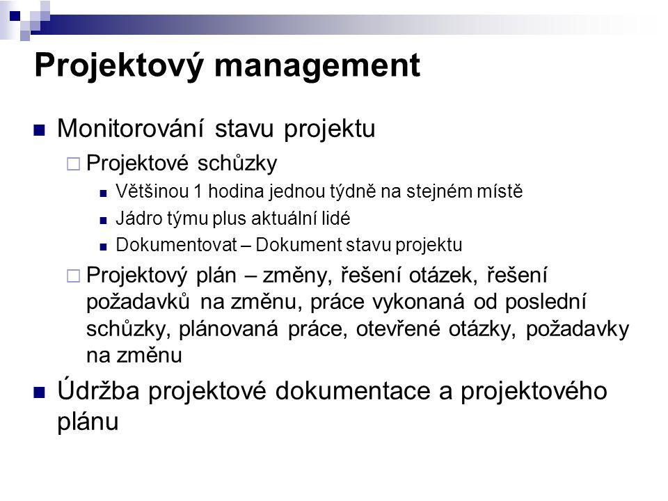 Projektový management Monitorování stavu projektu  Projektové schůzky Většinou 1 hodina jednou týdně na stejném místě Jádro týmu plus aktuální lidé D