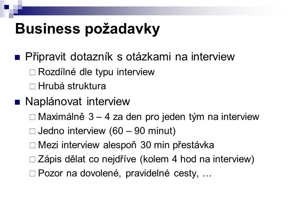 Business požadavky Připravit dotazník s otázkami na interview  Rozdílné dle typu interview  Hrubá struktura Naplánovat interview  Maximálně 3 – 4 z