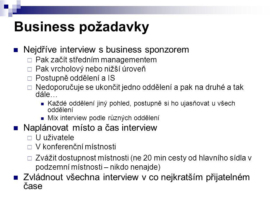 Business požadavky Nejdříve interview s business sponzorem  Pak začít středním managementem  Pak vrcholový nebo nižší úroveň  Postupně oddělení a I