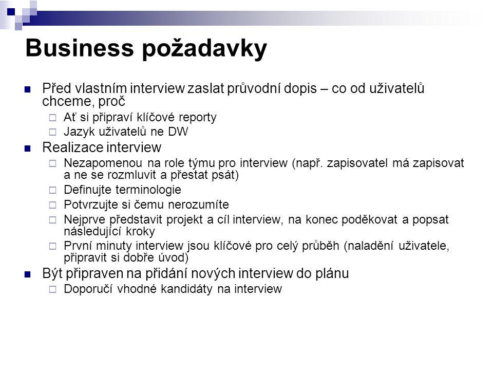Business požadavky Před vlastním interview zaslat průvodní dopis – co od uživatelů chceme, proč  Ať si připraví klíčové reporty  Jazyk uživatelů ne