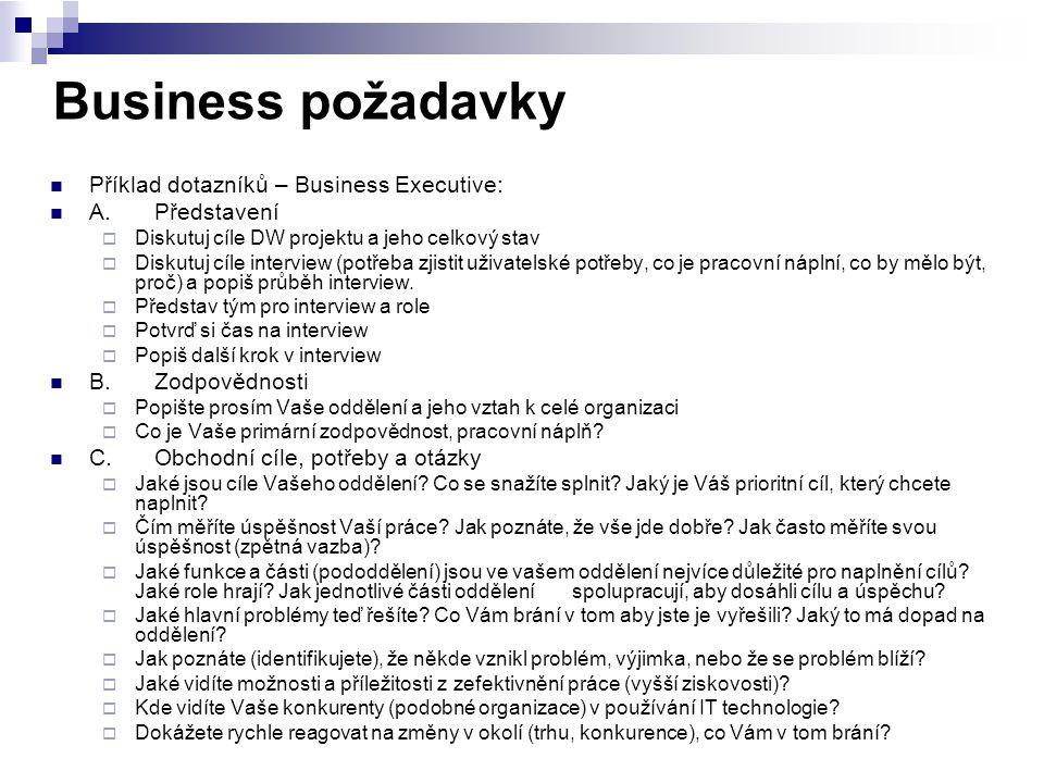 Business požadavky Příklad dotazníků – Business Executive: A.Představení  Diskutuj cíle DW projektu a jeho celkový stav  Diskutuj cíle interview (po
