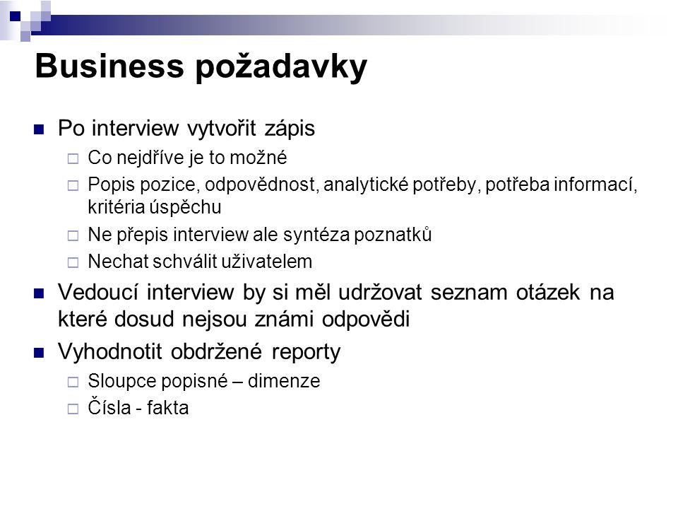 Business požadavky Po interview vytvořit zápis  Co nejdříve je to možné  Popis pozice, odpovědnost, analytické potřeby, potřeba informací, kritéria