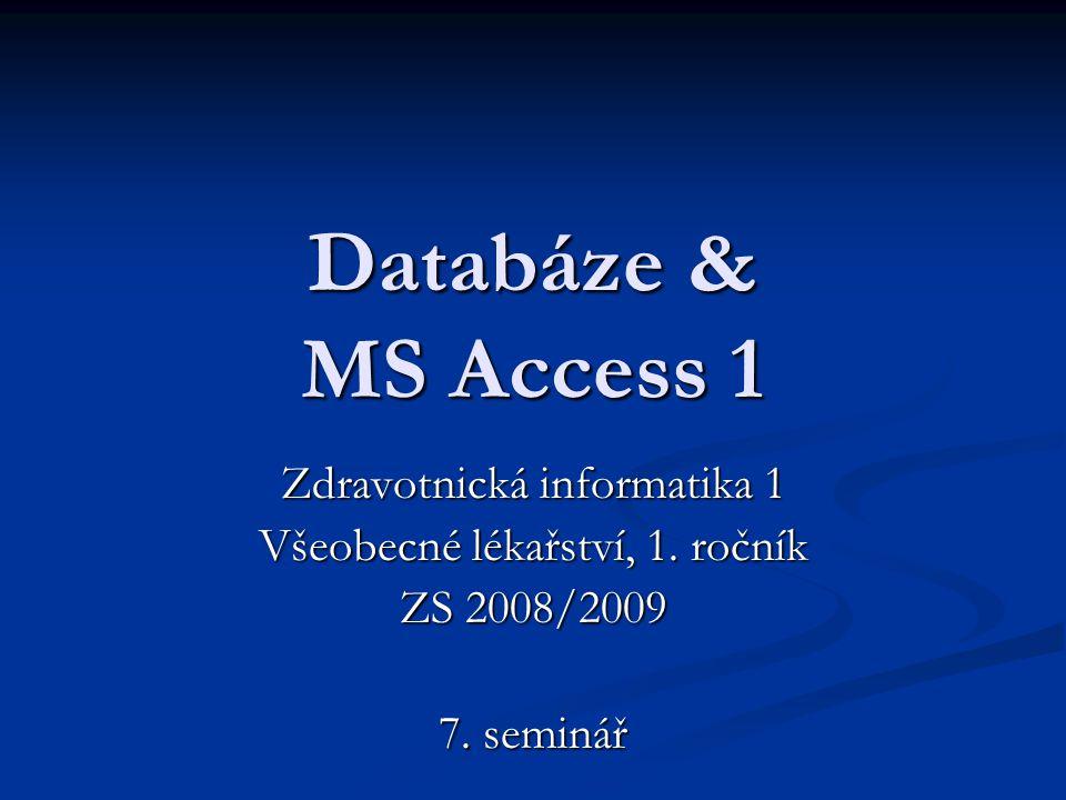 Databáze & MS Access 1 Zdravotnická informatika 1 Všeobecné lékařství, 1. ročník ZS 2008/2009 7. seminář