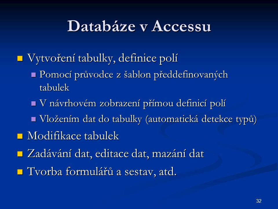 32 Databáze v Accessu Vytvoření tabulky, definice polí Vytvoření tabulky, definice polí Pomocí průvodce z šablon předdefinovaných tabulek Pomocí průvo